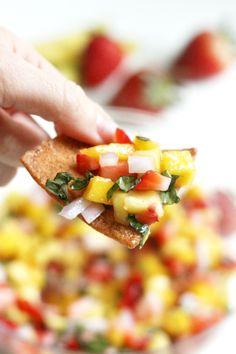 Strawberry Mango Salsa with Basil