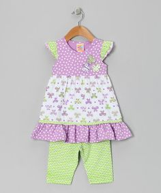 Take a look at this Lavender Papillon Dress & Leggings - Infant, Toddler & Girls by Sweet Potatoes on #zulily today!