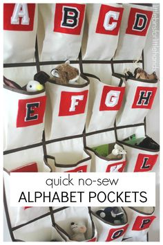 How To Make No Sew Hanging Alphabet Pockets (love how a child can find them in one place and leave up as an ongoing project or visual progression.
