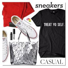 """""""Casual style"""" by mada-malureanu ❤ liked on Polyvore featuring Converse, Bao Bao by Issey Miyake, LOOKY, Bobbi Brown Cosmetics, jeans, CasualChic, Tee, whitesneakers and heylookylou"""
