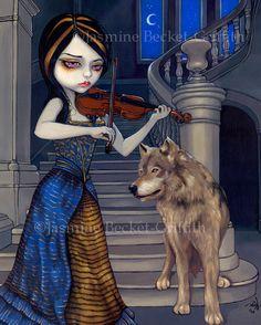 """PETITE FÉE!..ADORABLE..., """"Maestro! Musique du violon"""",  AU MANOIR DES LOUPS..!  Art par Jasmine Becket-Griffith par Strangeling sur Etsy.."""