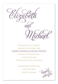Ever After Eggplant - Wedding Invitations by Invitation Consultants. (Item # IC-RLP-110 ) Change the Color of the wording though.