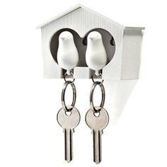 Duo Sparrow Key Holder Wht Wht