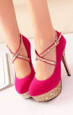 Elegant Pink Party Pumps with gold sparkles. Strappy High Heels, Gold Heels, Pink Heels, Diesel Punk, Shoe Boots, Shoes Heels, Pumps, Stilettos, Cute Shoes