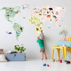 Mimi lou wallsticker, Giant world map Wall Stickers Map, World Map Wall Decal, Wall Decals, Kids Room Wall Stickers, Wall Art, Giant World Map, Kids World Map, Map Bedroom, Kids Bedroom