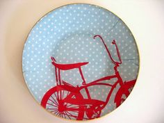 Decorative Glass Plate Red and Blue with by JulianaWJewelry