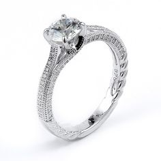 Sterling silver engagement ring with CZ and rhodium plating