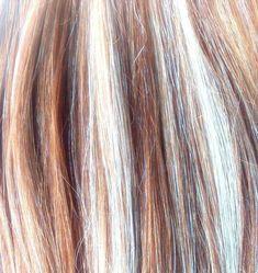 Human Hair Extension Clip in Streaks - Bleach Blonde/ Warm Brown set of 4