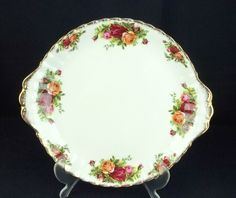 Royal Albert Old Country Roses Bread \u0026 Butter / Cake Plate 1st Quality 1962-73 & Royal Albert Old Country Roses Cake / Gateaux Stand 1st Quality VGC ...