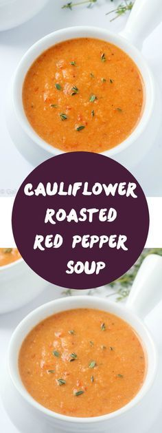 out-of-this-world delicious cauliflower roasted red pepper soup recipe! This will be your new favorite soup - it's ours!An out-of-this-world delicious cauliflower roasted red pepper soup recipe! This will be your new favorite soup - it's ours! Roasted Red Pepper Soup, Roasted Red Peppers, Roasted Tomatoes, Red Pepper Sauce, Vegetarian Recipes, Cooking Recipes, Healthy Recipes, Vegitarian Soup Recipes, Vitamix Soup Recipes