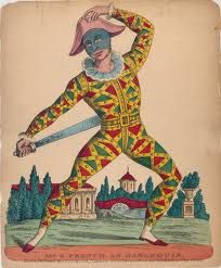 Harlequin (or Arlecchino in Italian, Arlequin in French, and Arlequín in Spanish) is the most popularly known of the zanni or comic servant characters from the Italian Commedia dell'arte. It was introduced by the successful Italian actor Tristano Martinelli in the 1580s, and it became a stock character after Tristano's death in 1630. Lombardia, Italy.