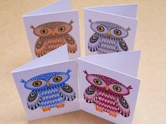 Four Owls folded gift tags pack of 4 peel-off tags by Ellareki