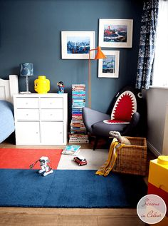 DULUX | Steel Symphony 1 Kids room makeover One room challenge Blue walls, white bed, modern Shark Chair by Made.com TheRugSeller BLOX rug and IKEA