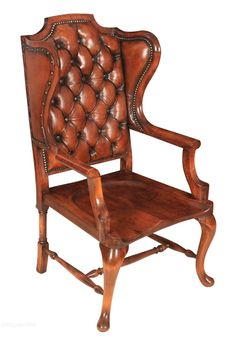 Rare Buttoned Leather And Mahogany Library Chair - Antiques Atlas Wooden Swing Chair, Wooden Office Chair, Mesh Office Chair, Swinging Chair, Office Chairs, Leather Chaise Lounge Chair, Outdoor Lounge Chair Cushions, Leather Armchairs, Leather Chesterfield