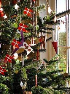 Garlands of Danish flags are a traditional decorations on Danish Christmas trees.