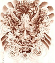 Geisha and Hannya Tattoo Design by on DeviantArt Oni Tattoo, Hannya Maske Tattoo, Raijin Tattoo, Hanya Tattoo, Demon Tattoo, Samurai Tattoo, Neue Tattoos, Bild Tattoos, Body Art Tattoos