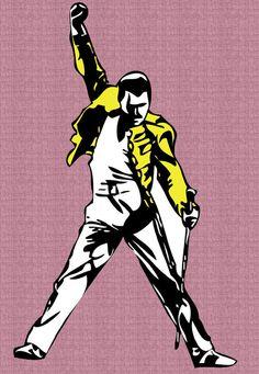 """QUEEN Freddie Mercury drawing 1 deluxe big jumbo fridge magnet 10"""" X 8"""" / 25 X 20 cm.."""