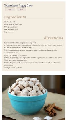 Snicker doodle Puppy chow