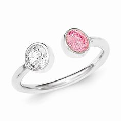 Sterling Silver Polished Pink and White CZ Adjustable Ring