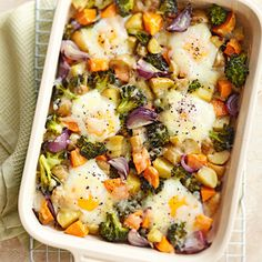 Baked Eggs with Roasted Vegetables. Broccoli, potatoes, sweet potato, red onion, olive oil, eggs, manchego cheese, pepper