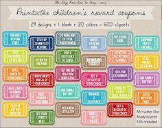 SALE 600 reward coupons educational printable by TheDigiRainbow Chore Rewards, Behavior Rewards, Kids Rewards, Reward Coupons, Kids Behavior, Behavior Management, Classroom Management, Reward System For Kids, Reward Chart Kids