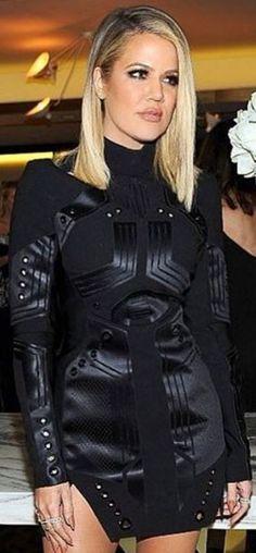 Who made  Khloe Kardashian's black long sleeve dress?