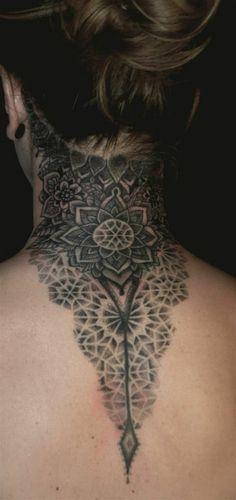 Tattoo Lotus mandala back neck