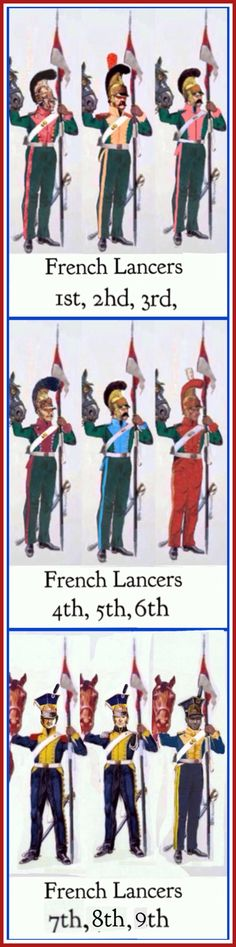 French lancers of the line 1st to 9th Regiments