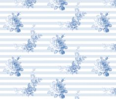 Seaside Garden Stripe Blueberry Blue by LILYOAKE on Spoonflower - custom fabric, wallpaper, gift wrap and decals