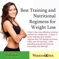 Best Training and Nutritional Regimens for Weight Loss  Learn the true facts behind weight loss regimens: why virtually all the fancy exercises that you do will not obtain you even half of your fat burning potential; why if you even try what you read in fitness magazines youll soon become so exhausted of reaching nowhere, and worse than that you may actually gain fat! What is the most effective training method for weight loss