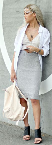 Grey Pencil Skirt with white blazer