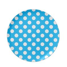 blue and white polka dot plate