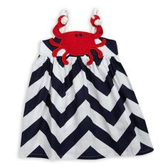 Baby Girls Navy Chevron Crab Sundress – Lolly Wolly Doodle