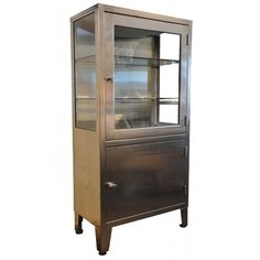"Vintage Stainless Steel Cabinet  60"" H X 30"" W X 16"" D - this would be perfect in a dining room!"