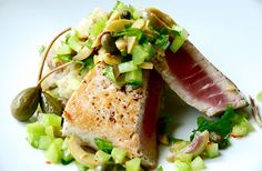 Seared Ahi Tuna with Green Olive Relish and Smashed Scallion Potatoes Seared Ahi, Salmon Burgers, Gourmet Recipes, Tuna Food, Olive Green, Mashed Potatoes, Seafood, Food Porn