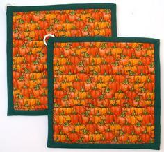 Pumpkins All Over Pot HoldersSet of 29 X by PizazzCreations, $10.00