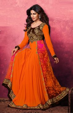 Orange Chitrangda Singh #long #anarkali dress in #georgette http://www.reshamfabrics.com/salwar-suits/orange-swagat-chitrangda-singh-long-anarkali-dress-in-georgette.html