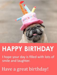 Smiling Pug Happy Birthday Card