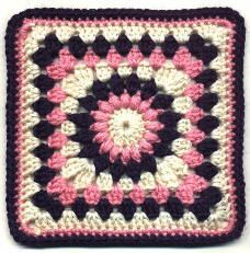 Sunburst granny square pattern. This seems to be a most referenced pattern for sunburst granny squares. Note- I skipped rounds 5 and 6, did white for 4 and 7. Will weave together for larger blanket.