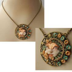 Woodland Fairy Face Pendant Necklace Jewelry Handmade NEW Hand Sculpted NEW Clay #Handmade #Pendant https://www.ebay.com/itm/162742482070