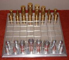 Brass and nickel chess set.