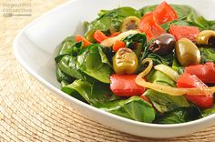 Warm Spinach Salad w/Roasted Red Peppers and Olives.  This is delicious!  Doesn't need 3 T of oil though.  The 2 T that were mixed in with the roasted veggies was more than enough to blend everything together when tossed with the spinach.