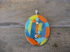 Ovale mozaiek hanger blauw/geel/oranje