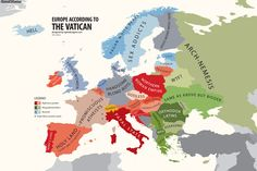 """atlasofprejudice:""""Europe According to the Vatican from Atlas of Prejudice: The Complete Stereotype Map Collection by Yanko Tsvetkov. Biel Biel, Funny Maps, Heiliges Land, Illustrator, Historical Maps, Art Store, Culture, Poster, Infographics"""