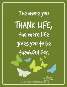 Thank life. 8 x 10 print available. Visit us at: http://www.GratitudeHabitat.com #gratitude #thankful #gratitude-quote