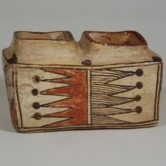 #adobegallery - Historic Polacca Polychrome Double Chamber Pottery Box