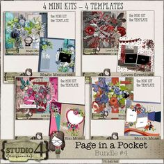 PAGE IN A POCKET #4 - The Bundle offers you a fabulous variety of ellies, papers and templates, and is a wonderful addition to any scrapper's stash. You will receive 4 Mini Kits and 4 Templates.