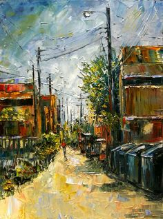 "Cityscape Art, Abstract Street Scene ""The Alley"" by Texas Artist Debra Hurd-© Debra Hurd-Sold, but Commissions are Welcome...."