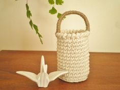 Small Tall Basket with a Handle Country Decor by PetitesByYurika