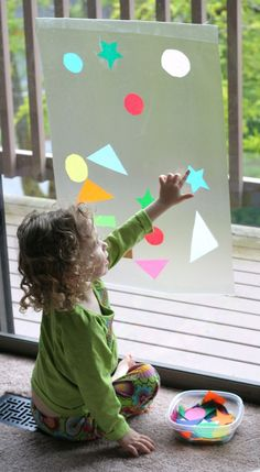 Contact paper + shapes from tissue paper Contact Paper Window Art from Fun at Home with Kids sensory activities for kids Rainy Day Activities, Craft Activities For Kids, Infant Activities, Projects For Kids, Preschool Activities, Kids Math, Art Projects, Play Activity, Toddler Play